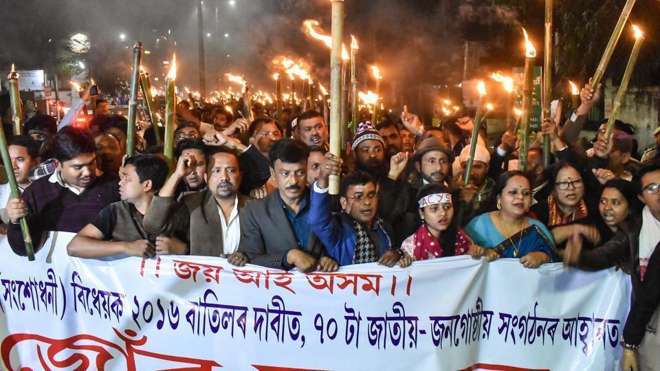 A protest against Citizenship (Amendment) Bill in Assam.