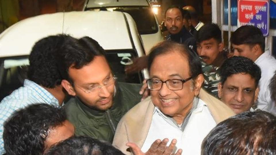 P Chidambaram after his release from Tihar Jail  in Delhi after being granted bail by the Supreme Court.