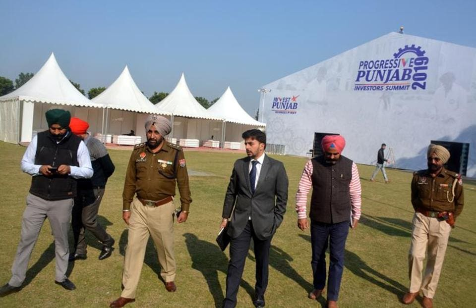 Mohali sub divisional magistrate Jaideep Saigal and deputy superintendent of police Manjit Singh reviewing arrangements for the Progressive Punjab Investors Summit in Mohali from December 5-6.