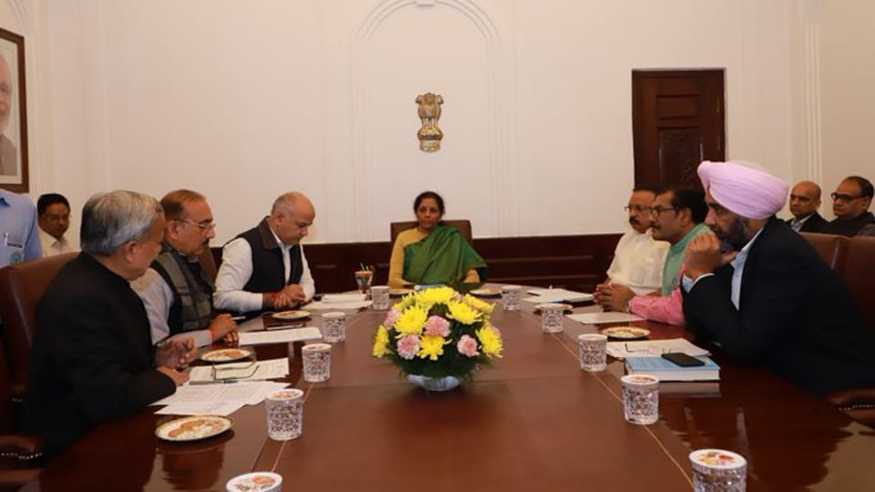 The finance ministers of Delhi, Punjab, Puducherry and Madhya Pradesh and representatives Kerala, Rajasthan, Chattisgarh and West Bengal attended the meeting.