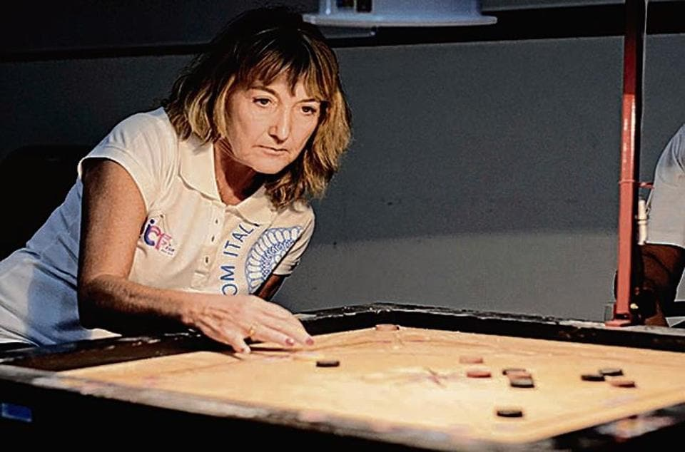 54-year-old Elisa Zucchiatti  has won five matches at the 8th Carrom ICF Cup India at PYC Hindu Gymkhana.