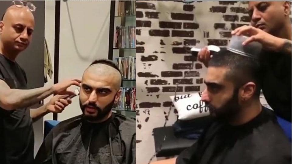 Arjun gets his hair shaved off during the making of Panipat.