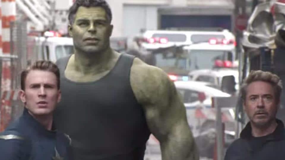 Robert Downey Jr, Chris Evans and Mark Ruffalo in a still from Avengers: Endgame.