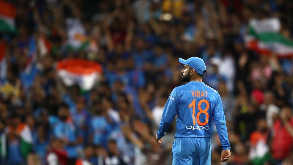 Virat Kohli of India looks on during the International Twenty20 match between Australia and India at Sydney Cricket Ground on November 25, 2018 in Sydney, Australia.