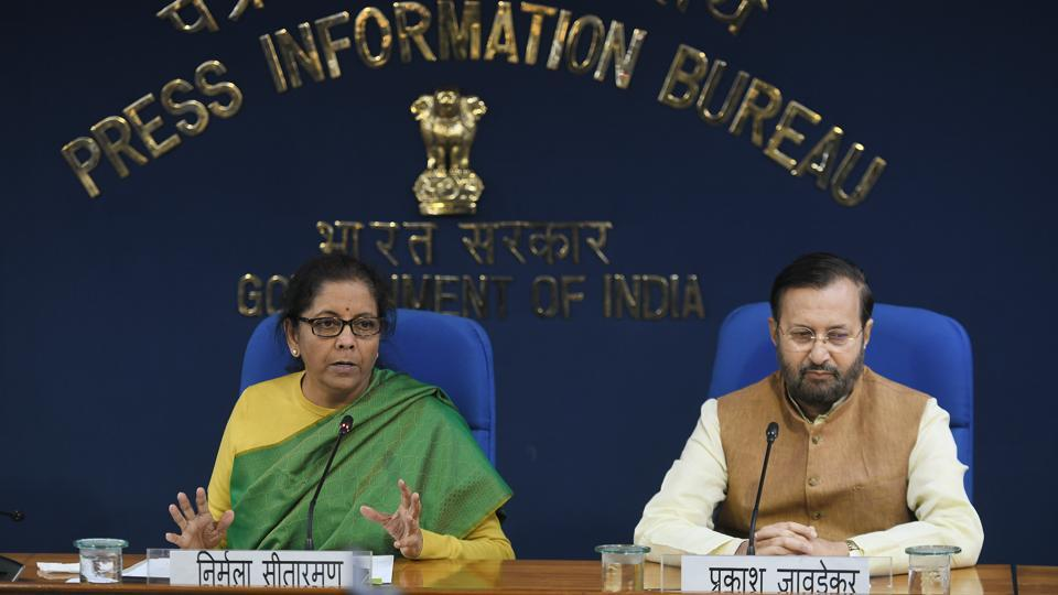 Union Finance Minister Nirmala Sitharaman addresses the media during a press conference after a cabinet meeting in the presence of Union Minister of Information and Broadcasting Prakash Javadekar, at PIB Conference Hall, Shastri Bhawan, in New Delhi on Wednesday.