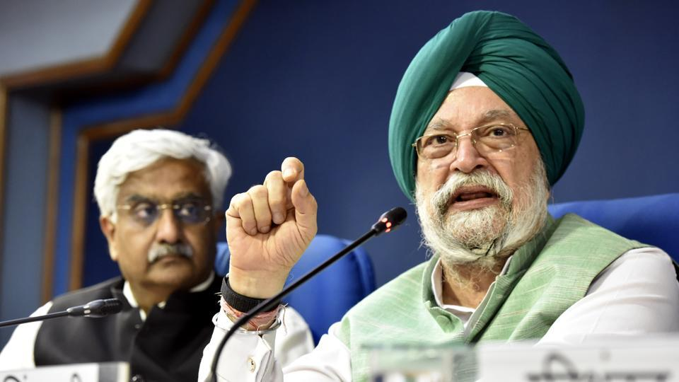 Minister of Housing and Urban Affairs Hardeep Singh Puri addresses the media at PIB Conference Hall, Shastri Bhavan, in New Delhi on October 23, 2019.
