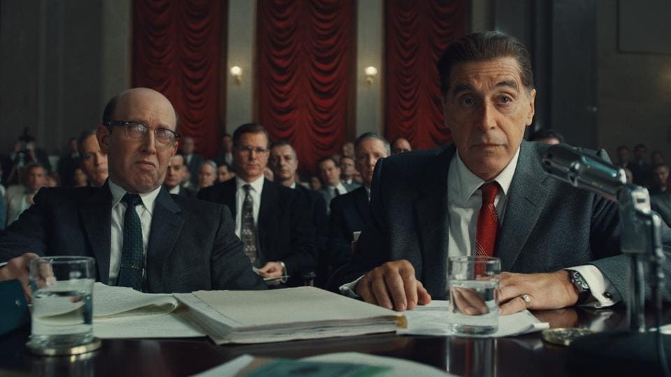 This image released by Netflix shows Al Pacino, right, in a scene from The Irishman.