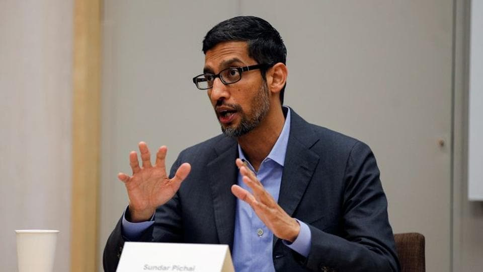 Google CEO Sundar Pichai spekas at a roundtable with White House adviser Ivanka Trump (not pictured) at El Centro College in Dallas, Texas, U.S. October 3, 2019.