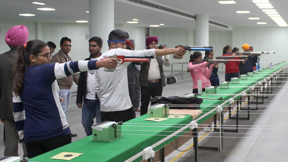 Budding Shooters of GHG Khalsa College Gurusar Sudhar at their shooting range in college premises, Ludhiana.