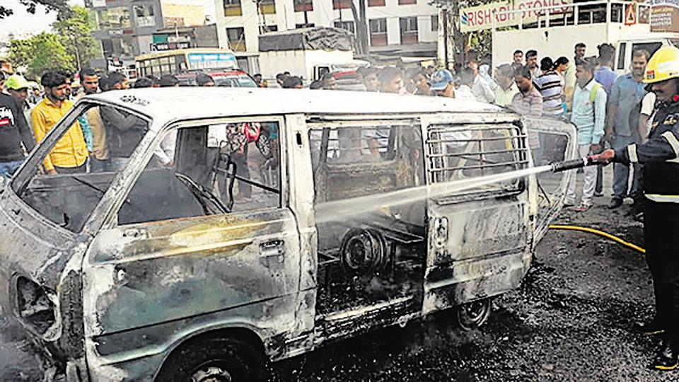 A school van caught fire near Katraj due to short circuit in Pune on Tuesday.