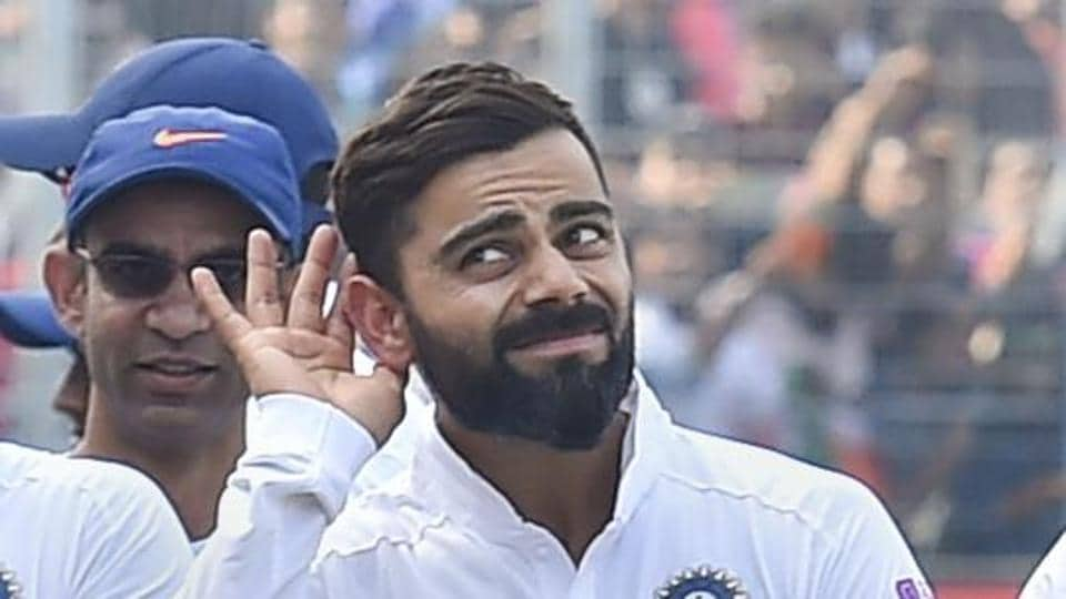 Indian team captain Virat Kohli gestures as he walks with his teammates after winning the day-night Test series against Bangladesh at Eden Gardens in Kolkata Sunday Nov. 24 2019