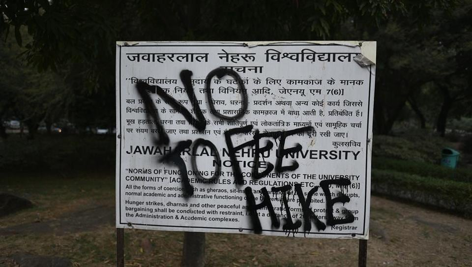 Graffiti that says 'No To Fee Hike' is seen as students protest at Jawaharlal Nehru University in New Delhi