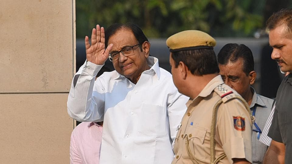 Former Union finance minister P. Chidambaram arrives at Rouse Avenue Court in New Delhi in October 2019.