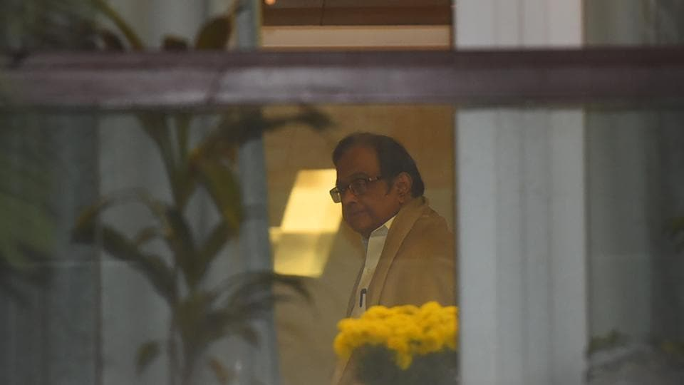 Former Finanace Minister P Chidambaram is seen at his residence after he was granted bail by Supreme Court today in the INX Media money laundering case, at Jor Bagh, in New Delhi on December 4, 2019.