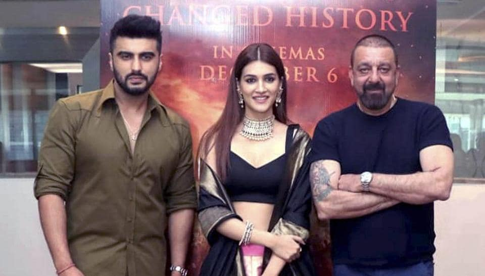 Arjun Kapoor, Kriti Sanon and Sanjay Dutt during a trailer preview of their upcoming film Panipat.