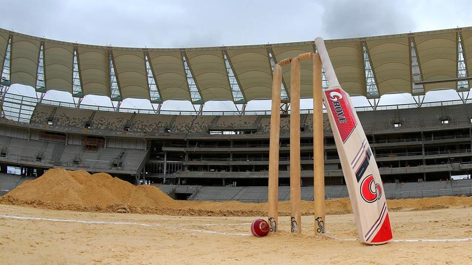 Cricket stumps, bat and ball during the new Perth Stadium Tour.