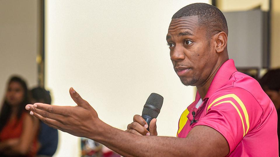 Jamaican sprinter Yohan Blake at the launch of Road safety World Series.