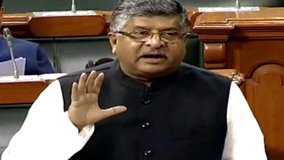 Union Minister Ravi Shankar Prasad speaks in Lok Sabha during the ongoing winter session of parliament in New Delhi on Wednesday. (ANI Photo)