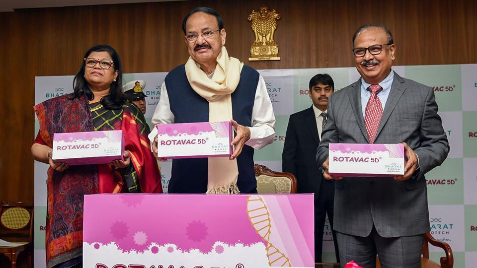 Vice President M Venkaiah Naidu at a function to launch the new rotavirus vaccine, in New Delhi on Tuesday,