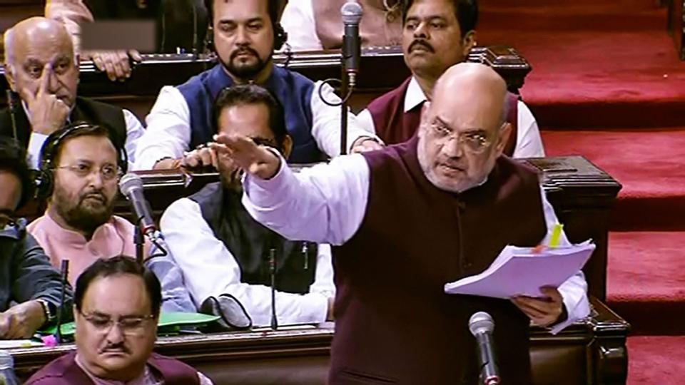 Union Home Minister Amit Shah speaks in the Rajya Sabha during the ongoing Winter Session of Parliament, in New Delhi, Tuesday, Dec. 3, 2019.  Shah emphatically rejected the charge that political vendetta was the driving force behind amending the SPG bill.