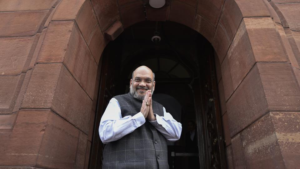 Union Home Minister Amit Shah arrives to attend the ongoing winter session of Parliament, at Parliament House, in New Delhi on Wednesday, November 27, 2019.