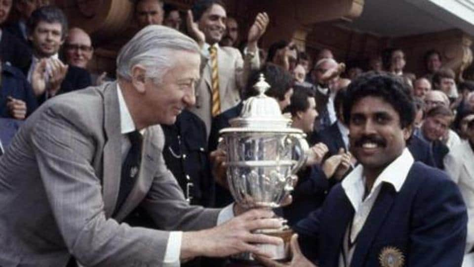 Quite the legend: Former Indian cricket captain Kapil Dev receiving the Prudential World Cup Trophy from the then chairman of Prudential Assurance, Lord Carr of Hadley, after India's victory over the West Indies in the World Cup Final at Lord's cricket ground in London, 25th June 1983.