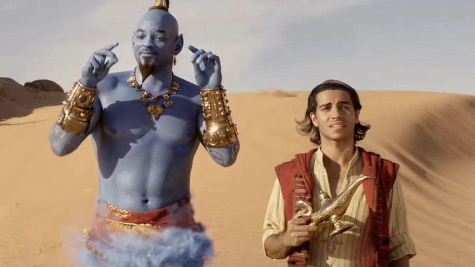 Mena Massoud and Will Smith in a still from Aladdin.
