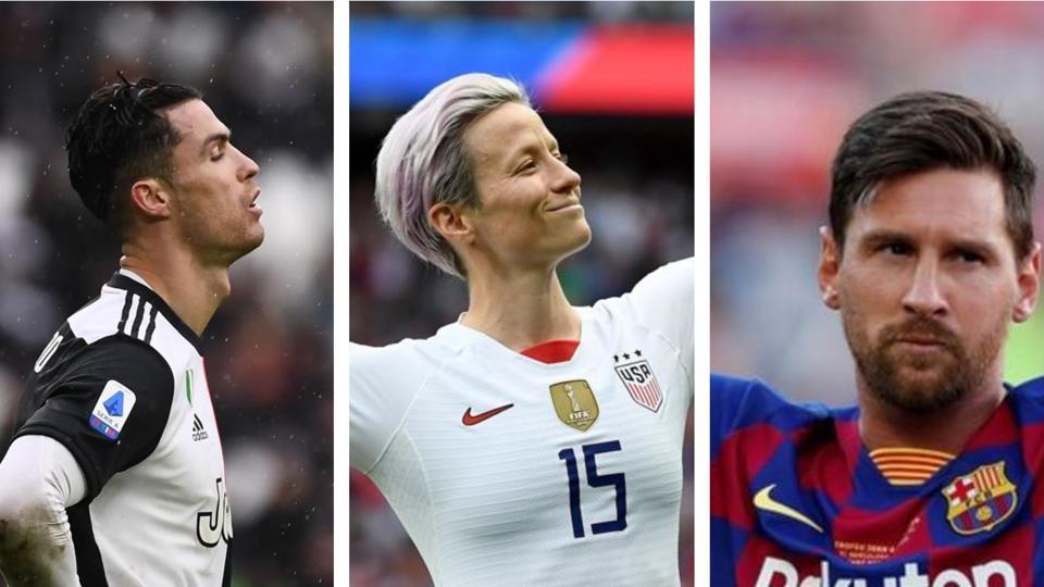 CristianoRonaldo, Megan Rapinoe and Lionel Messi (L-R).