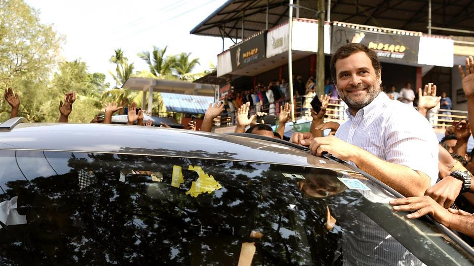 Congress leader Rahul Gandhi being greeted by party workers on his arrival in Wayanad .