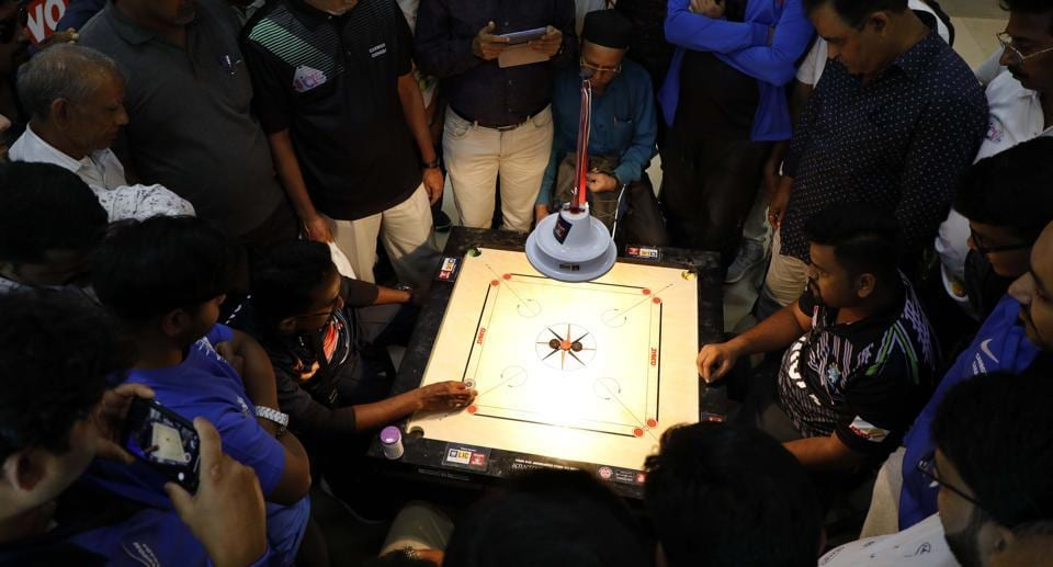 Players at the 8th Carrom ICF Cup at PYC Hindu Gymkhana on Wednesday in Pune.
