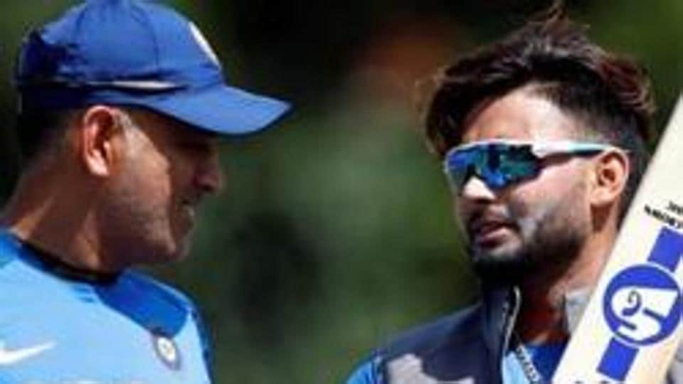India's MS Dhoni (L) and Rishabh Pant during nets.