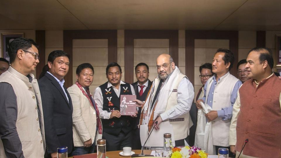 Home Minister Amit Shah during a meeting with various northeastern leaders on Citizenship Amendment Bill (CAB), in New Delhi, Saturday, Nov. 30, 2019. Union Minister for Sports and Youth Affairs Kiren Rijiju, Arunachal Pradesh Chief Minister Pema Khandu and Assam Finance Minister Himanta Biswa Sarma are also seen.