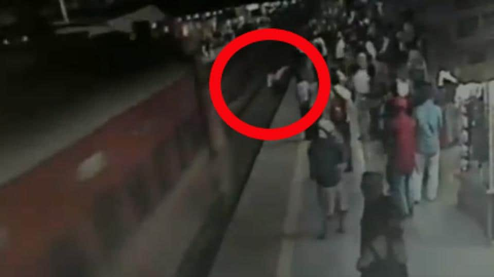 The image shows the RPF jawan saving the man's life.