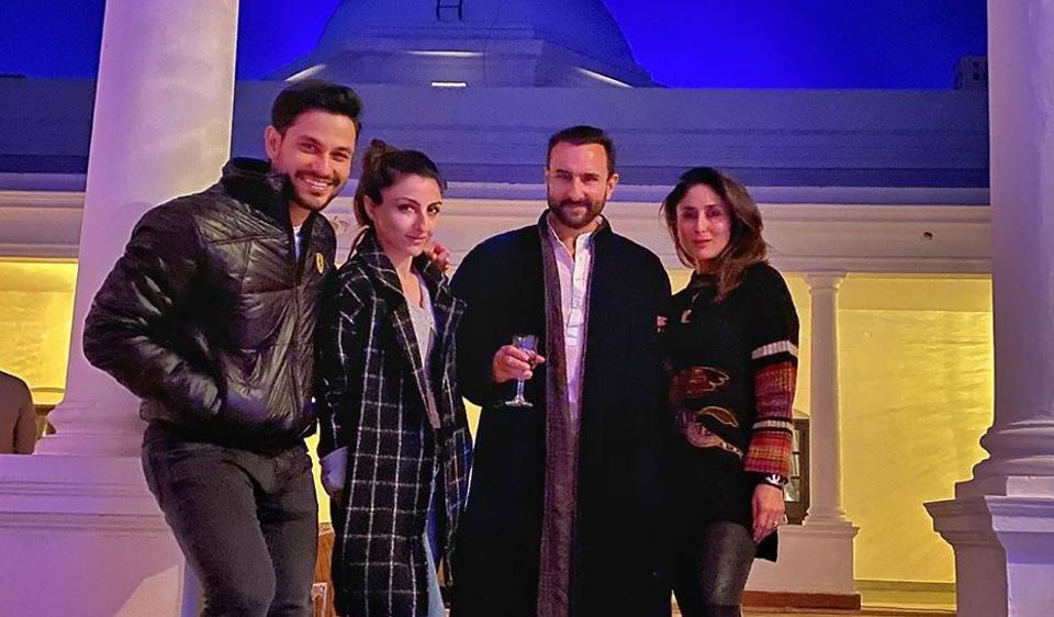 Saif Ali Khan, Kareena Kapoor Khan, Kunal Kemmu and Soha Ali Khan are chilling together at Pataudi Palace.