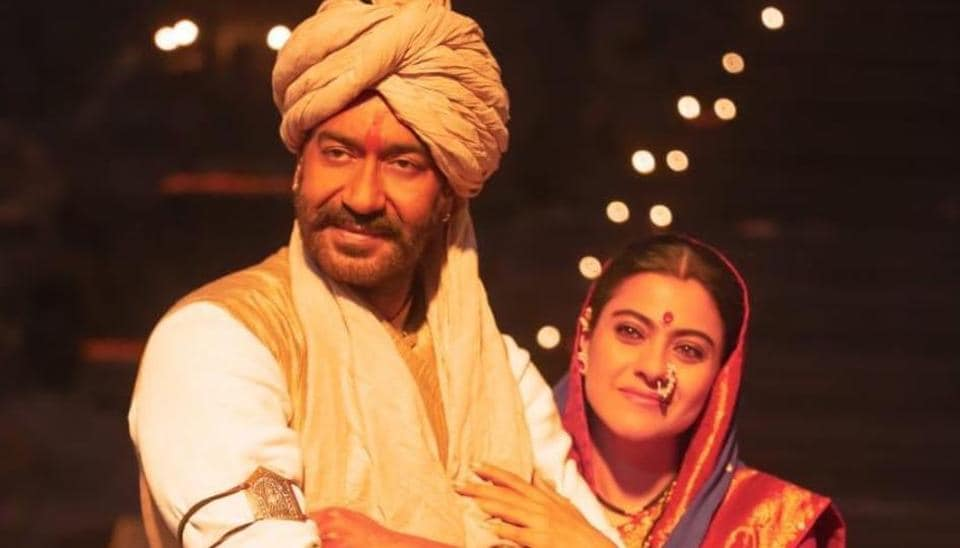Ajay Devgn and Kajol strike a pose while in character for Tanhaji. see pic