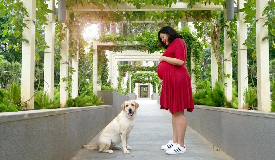 A maternity shoot by Prathima Pingali of Pawparazzi. 'In a good month, I do about six shoots,' says Pingali, who gave up her mainstream photography career to specliase in pets, after she saw how her pictures of the family Labrador were helping her parents and brother grieve after his demise.