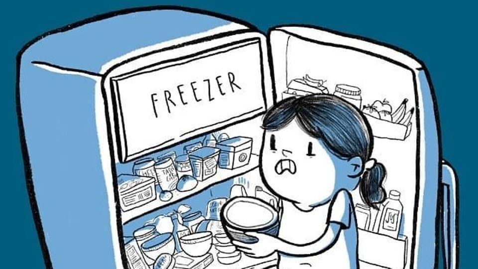 A hilarious depiction of the balancing act done in overfull refrigerators.