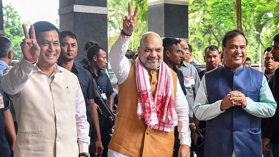 Guwahati: Union Home Minister and Chairman North Eastern Council (NEC) Amit Shah with Assam Chief Minister Sarbananda Sonowal and Finance Minister of Assam Himanta Biswa Sarma arrives to attend the 68th Plenary Session of the North Eastern Council (NEC) at Assam Administrative Staff College, in Guwahati.