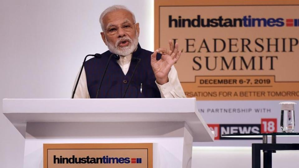 PM Narendra Modi delivers the inaugural address during the Hindustan Times Leadership Summit at Taj Palace in New Delhi, India, on Friday, December 06, 2019.