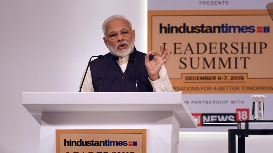 Narendra Modi, Prime Minister of India delivers the inaugural address during the Hindustan Times Leadership Summit at Taj Palace in New Delhi, India, on Friday, December 06, 2019. (Photo by Raj K Raj /Hindustan Times)