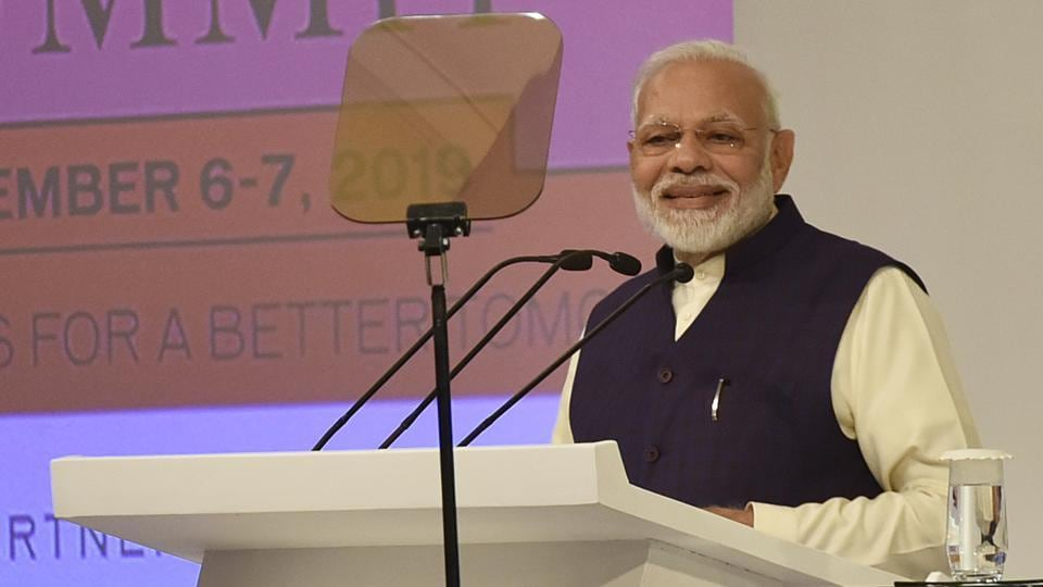 Narendra Modi, Prime Minister of India delivers the inaugural address during the Hindustan Times Leadership Summit, at Taj Palace, in New Delhi on December 6.