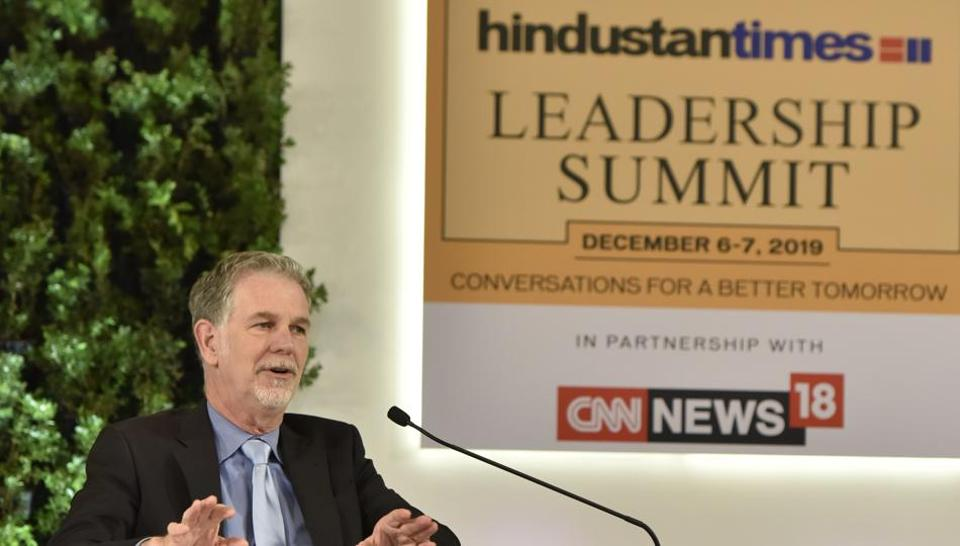 Novels, not Netflix, introduced binge concept, says Reed Hastings, Founder and CEO, Netflix during the Hindustan Times Leadership Summit 2019 at Taj Palace in New Delhi, India. (Sanjeev Verma/HT PHOTO)