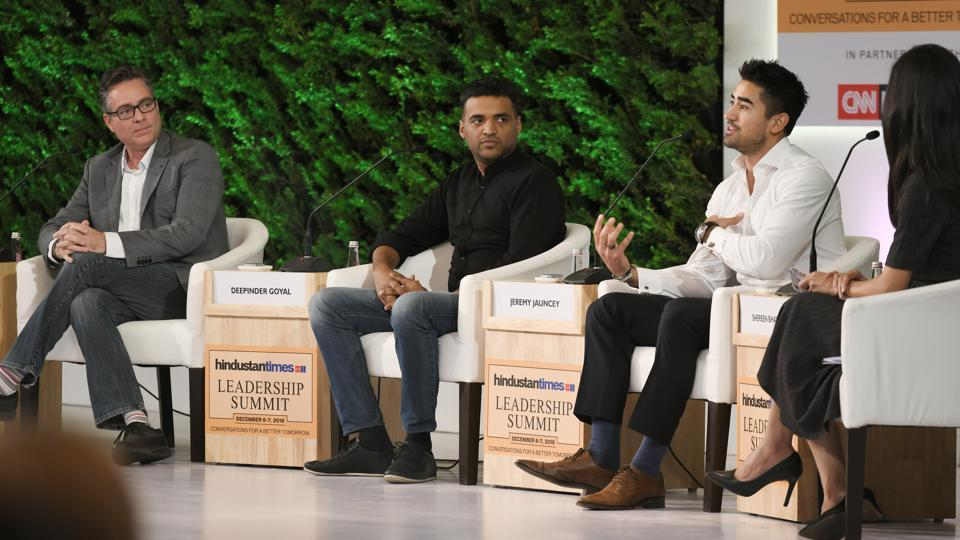 Brad Loiselle, President and CEO, BetterU with Deepinder Goyal, Founder and CEO, Zomato and Jeremy Jauncey, Founder and CEO, Beautiful Destinations in conversation with Shereen Bhan, Managing Editor – CNBC TV18 during the Hindustan Times Leadership Summit at Taj Palace in New Delhi.