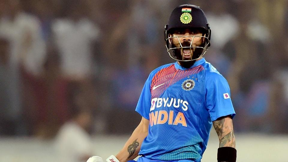 India's Virat Kohli celebrates after win the first T20 match against West Indies.