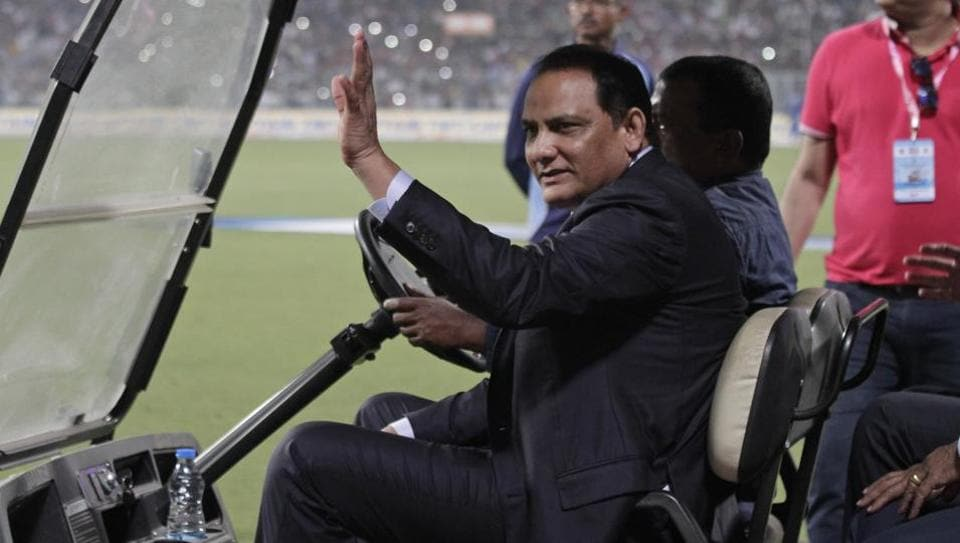 Mohammad Azharuddin during the first day of the second test match between India and Bangladesh, in Kolkata.