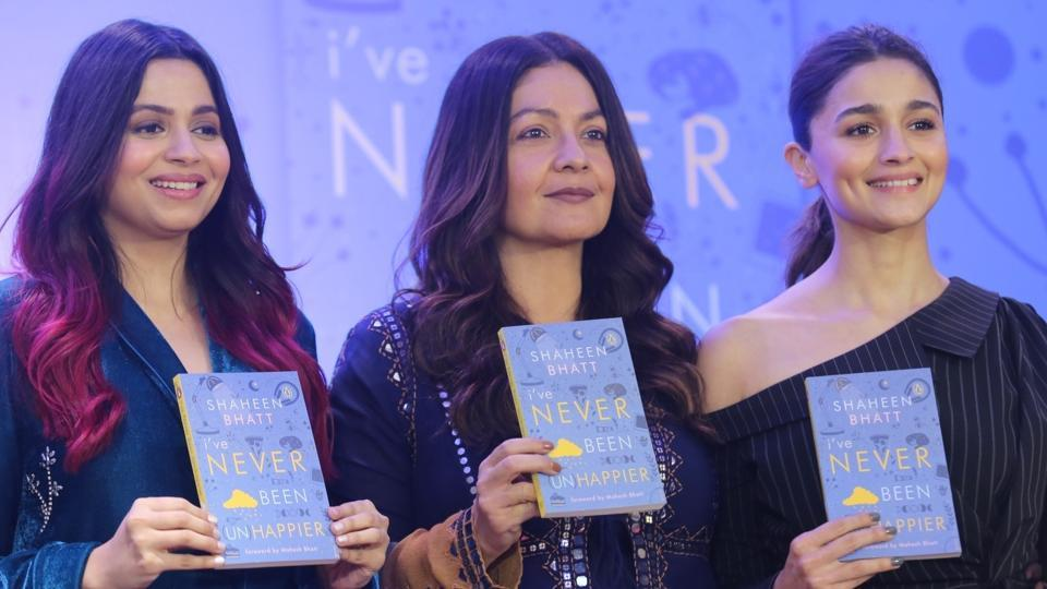 Shaheen Bhatt with her sisters Alia Bhatt and Pooja Bhatt at the launch of her book I've Never Been (un)Happier in Mumbai in early December this year.