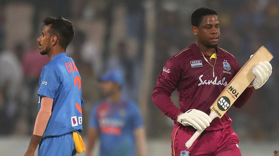 West Indies' Shimron Hetmyer leaves the field after being dismissed by Yuzvendra Chahal.