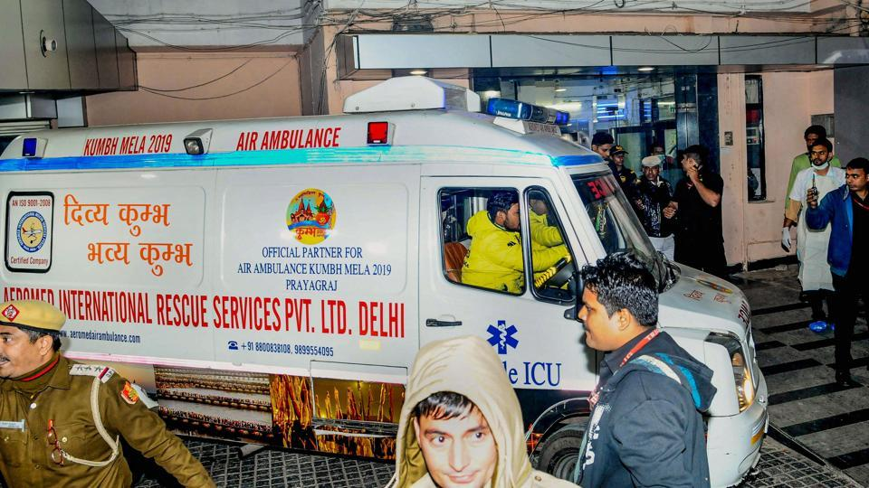 An ambulance carrying the Unnao rape survivor, arrives at Safdarjung Hospital after the state government arranged an air ambulance from Lucknow, in Delhi, Thursday, Dec. 5, 2019.