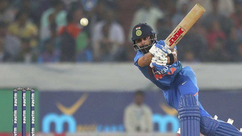 India's captain Virat Kohli plays a shot during the first Twenty20 international match.