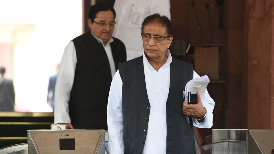 MP from Rampur, Azam Khan (front) at the Parliament during the Winter Session in New Delhi on Friday.